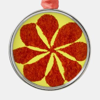 flower in red metal ornament