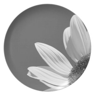 Flower In the Sun (B&W) Dinner Plate