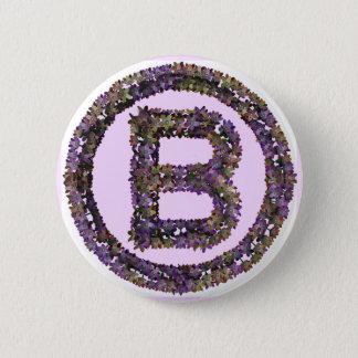 Flower Initial B Pinback Button