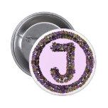 Flower Initial J 2 Inch Round Button