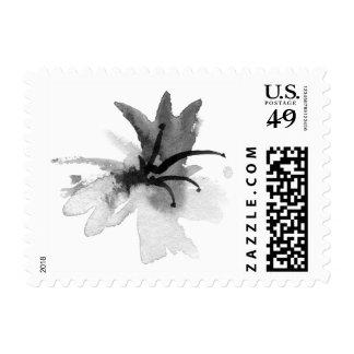 flower ink brush postage