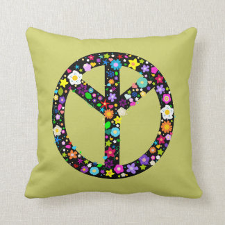 Flower Inverted Peace Sign Throw Pillow