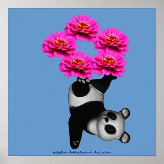 Flower Juggling Panda Bear Nature Poster Print