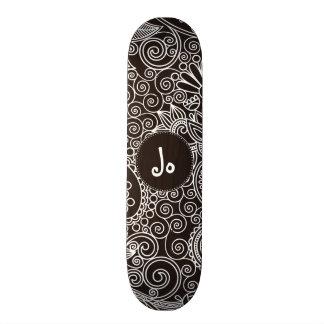 Flower Jungle Black Custom Skate Board