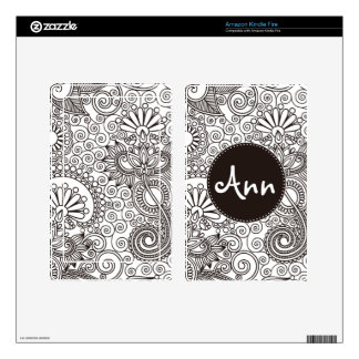 Flower Jungle in Black & White & round name label Skins For Kindle Fire