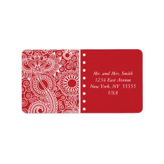 Flower Jungle in red and white Address Label