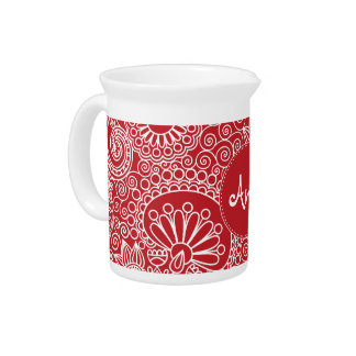 Flower Jungle in red and white Beverage Pitcher