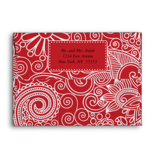 Flower Jungle in red and white Envelope