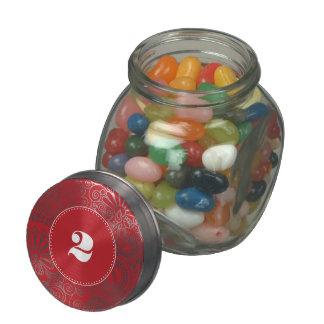Flower Jungle in Red and white Glass Candy Jars