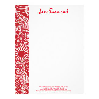 Flower Jungle in red and white Letterhead