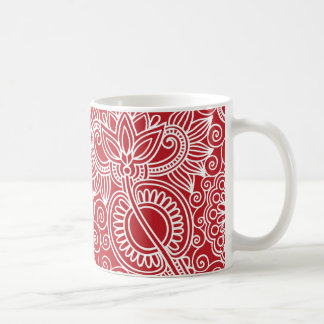 Flower Jungle in red and white Classic White Coffee Mug