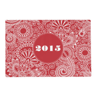 Flower Jungle in red and white Placemat