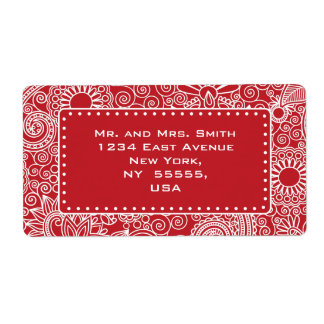 Flower Jungle in red and white Shipping Label