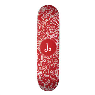 Flower Jungle in Red and white Skateboard Deck