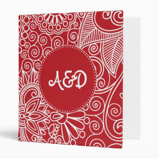 Flower Jungle in red and white Vinyl Binder