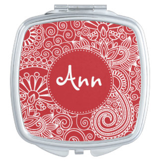 Flower Jungle in red and white with name label Mirror For Makeup