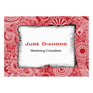 Flower Jungle Red Large Business Card