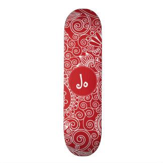 Flower Jungle Red Custom Skate Board