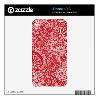 Flower Jungle Red Skin For The iPhone 4