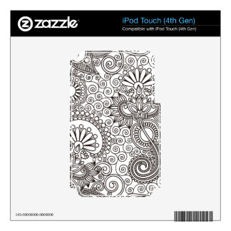 Flower Jungle White Decal For iPod Touch 4G