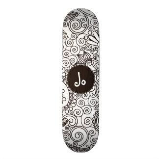 Flower Jungle White Custom Skate Board