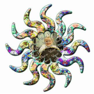 Flower Kaleidoscope Custom Twisty Star Ornament Photo Cutouts