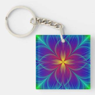 Flower Single-Sided Square Acrylic Keychain