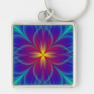 Flower Silver-Colored Square Keychain