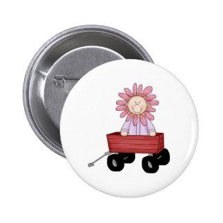Flower Kid in Wagon Button