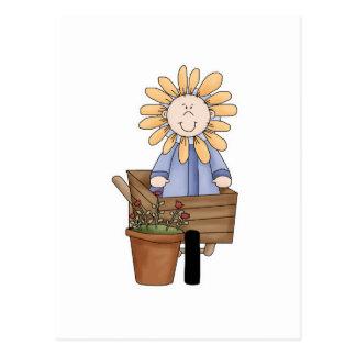 Flower Kid In Wheel Barrow Postcard