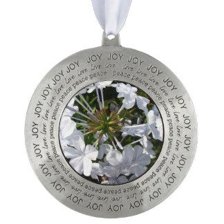 Flower Round Pewter Ornament