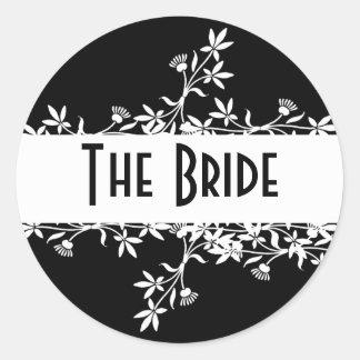Flower Label - The Bride Classic Round Sticker