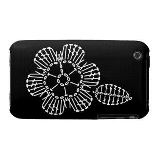 Flower & Leaf Crochet Chart (Black & White) Case-Mate iPhone 3 Cases