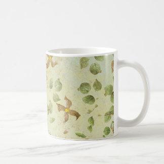 flower leaves background coffee mug