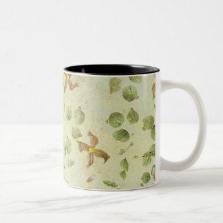 flower leaves background Two-Tone coffee mug