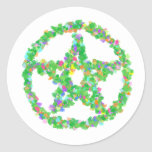 Flower & Leaves Pentacle Classic Round Sticker