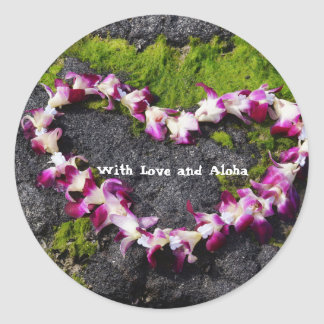 Flower Lei on the Rocks Classic Round Sticker