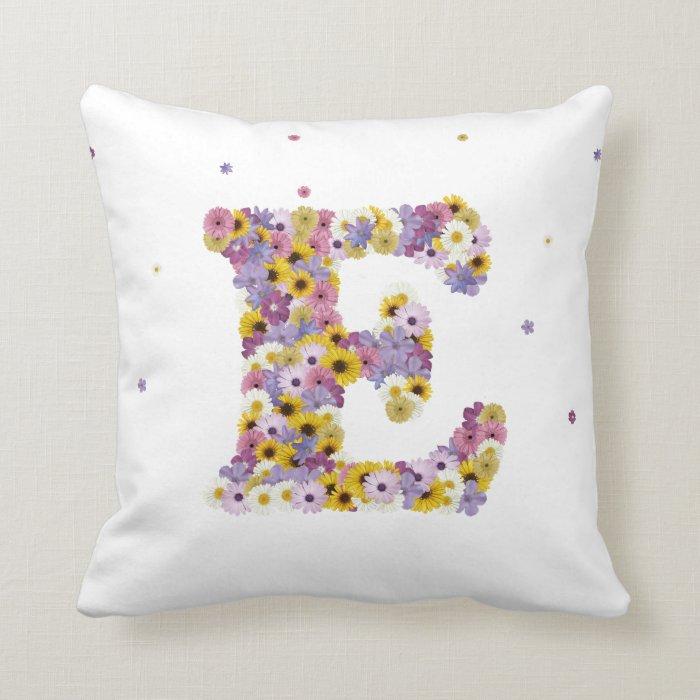 Flower letter E Throw Pillow Zazzle