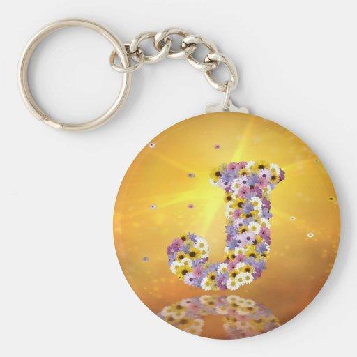 Flower letter J Key Chains