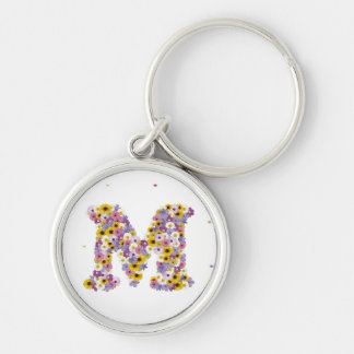 Flower letter M Silver-Colored Round Keychain
