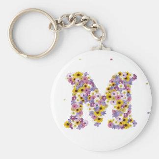 Flower letter M Basic Round Button Keychain