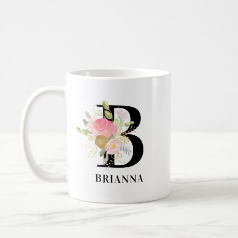 Flower Letter Pink and Gold Floral Monogrammed Coffee Mug
