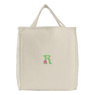 Flower Letter R Embroidered Tote Bag