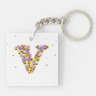 Flower letter V Keychain