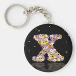 Flower letter x keychains