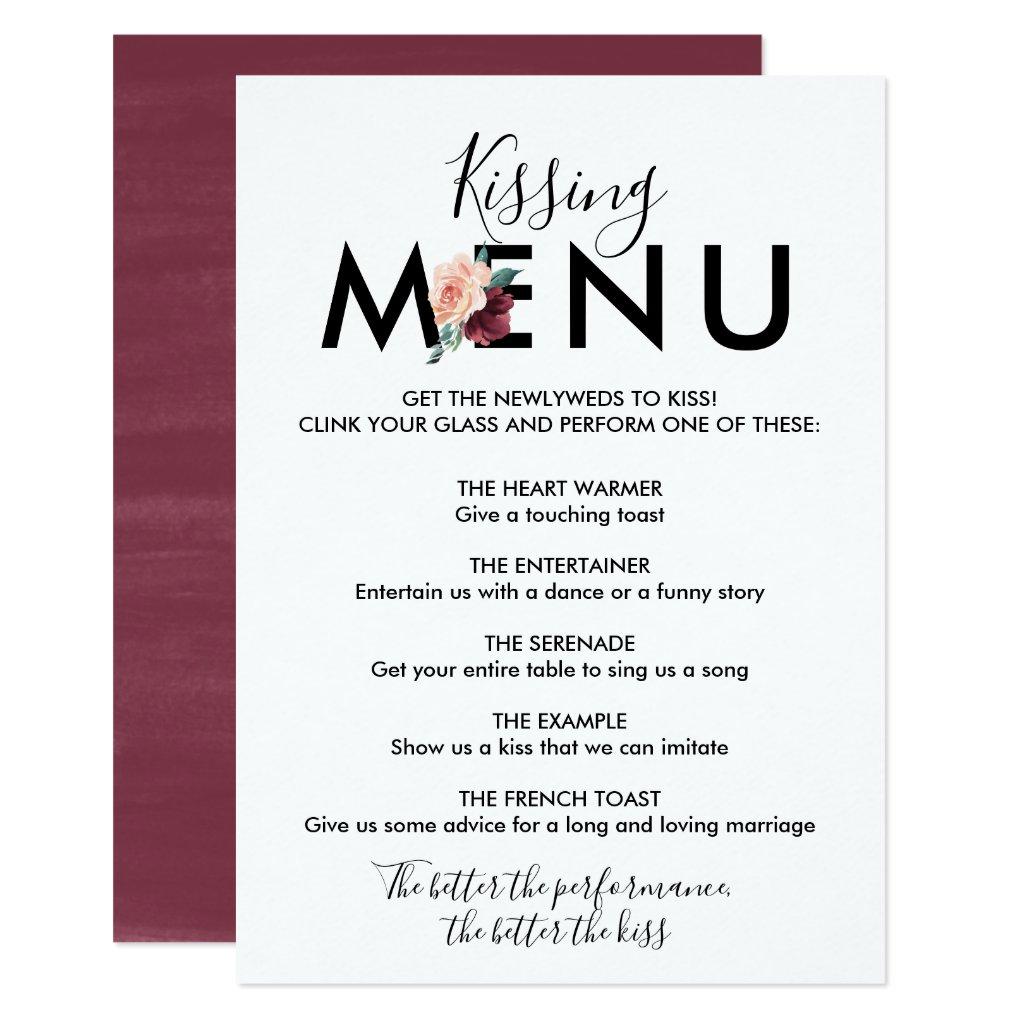 Flower Lettering | Maroon Kissing Menu Card