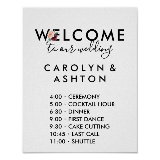 Flower Lettering Maroon Wedding Order Of Events Poster Zazzle