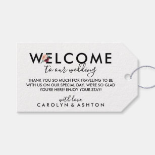 flower lettering maroon wedding welcome gift tags