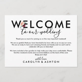 Flower Lettering Maroon Welcome Letter & Itinerary
