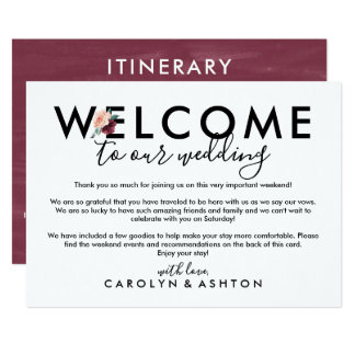 Flower Lettering Maroon Welcome Letter & Itinerary Invitation